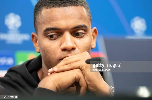 02 October 2018 North RhineWestphalia Dortmund Manuel Akanji from Borussia Dortmund sits on the podium in Signal Iduna Park at a press conference BVB...