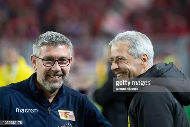 31 October 2018 North RhineWestphalia Dortmund Soccer DFB Cup Borussia Dortmund 1st FC Union Berlin 2nd round Dortmund coach Lucien Favre and Union...