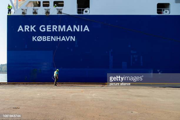 The RoRo ship 'ARK GERMANIA' which transported Bundeswehr vehicles from Emden to Fredrikstad for the largescale NATO exercise 'Trident Juncture'...