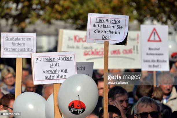 20 October 2018 RhinelandPalatinate Trier 20 October 2018 Germany Trier Participants of the protest rally of the initiative 'Kirchengemeinde vor Ort'...