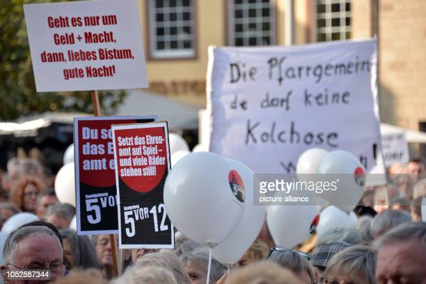 20 October 2018 RhinelandPalatinate Trier 20 October 2018 Germany Trier Participants of the protest rally of the initiative 'local church parish'...