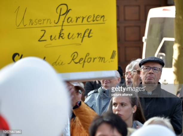 20 October 2018 RhinelandPalatinate Trier 20 October 2018 Germany Trier The Trier bishop Stephan Ackermann follows the protest rally of the...