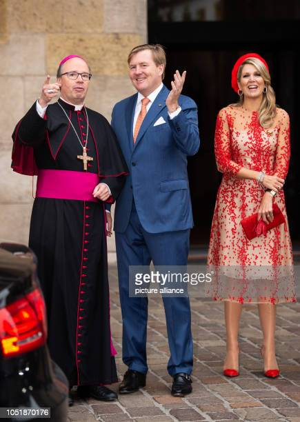 11 October 2018 RhinelandPalatinate Trier Stephan Ackermann Bishop of Trier WillemAlexander King of the Netherlands and Queen Maxima stand on the...