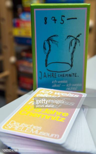 19 October 2018 Germany ChemnitzAn edition of the card game 'I know everything I don't know anything 875 Years Chemnitz' stands on a table in the...