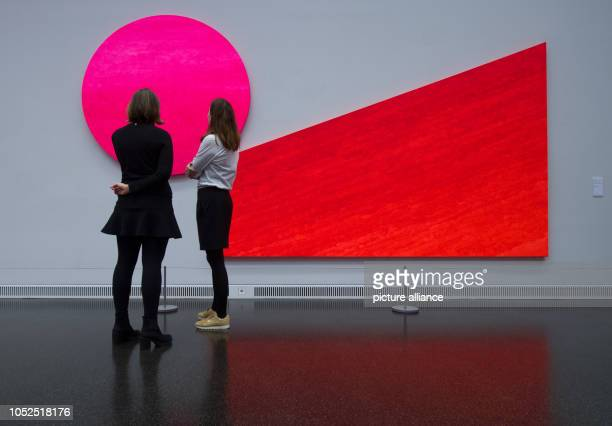 Participants of a preview visit the Museum Gunzenhauser of the Kunstsammlungen in Chemnitz and see the work 'Pinc contra orange ' by Rupprecht Geiger...