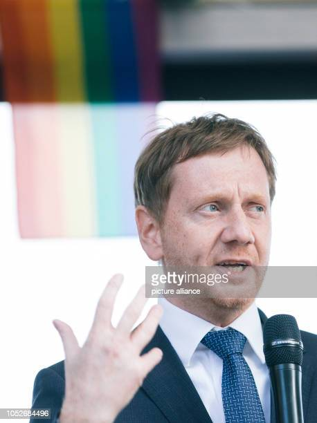 Michael Kretschmer Prime Minister of Saxony speaking on a car during the demonstration Heart instead of agitation On the fourth anniversary of the...