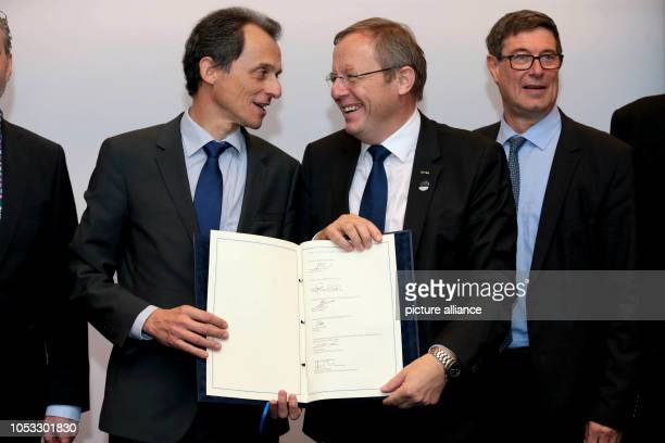 JohannDietrich Wörner Director General of the European Space Agency and Pedro Duque Spanish astronaut and Minister of Science of Spain attend a...
