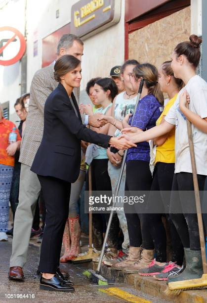 12 October 2018 Spain Sant Llorenc King Felipe VI of Spain and his wife Queen Letizia visit people in the affected areas Devastating thunderstorms on...