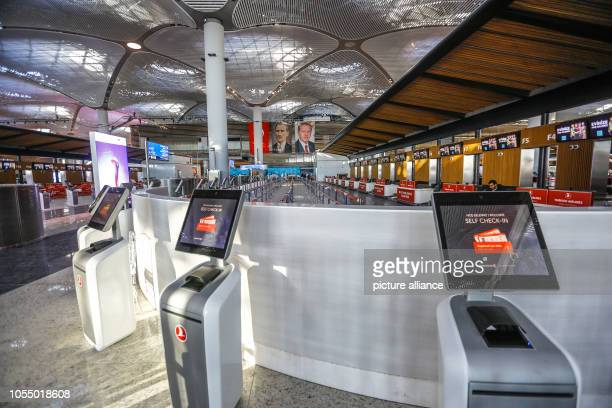 A general view of self checkin counters at the new Istanbul International Airport during it's opening ceremony The airport is estimated to become one...