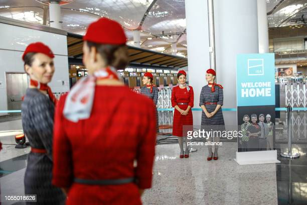 Hostesses attend the opening ceremony of the new Istanbul International Airport The airport is estimated to become one of the world's largest hubs...
