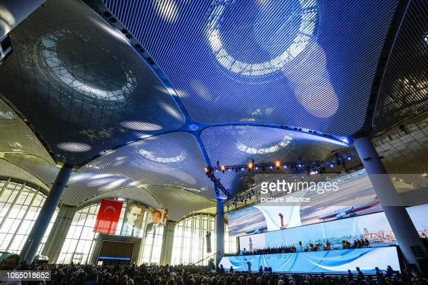 People attend the opening ceremony of the new Istanbul International Airport The airport is estimated to become one of the world's largest hubs for...
