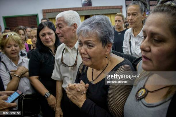 10 October 2018 Venezuela Caracas Amparo Salazar mother of the late opposition councilman Fernando Alban cries on the day of his funeral According to...