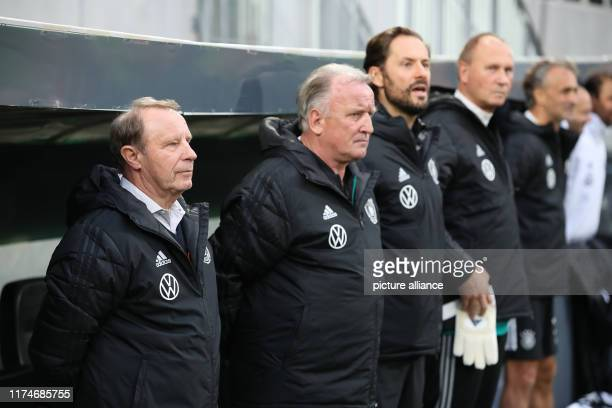 Soccer DFBAllStars against Italy in the Sportpark Ronhof Thomas Sommer The German Berti Vogts Andreas Brehme are on the court before the game starts...