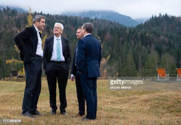 October 2019, Bavaria, Krün: Markus Söder , Prime Minister of Bavaria, Winfried Kretschmann , Prime Minister of Baden-Württemberg, Michael Kretschmer...