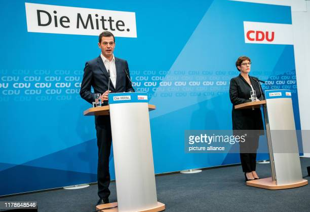October 2019, Berlin: Mike Mohring, state chairman of the CDU in Thuringia, speaks alongside Annegret Kramp-Karrenbauer, federal chairman of the CDU...