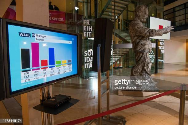 October 2019, Berlin: The first projection of the TV station ARD of the state election in Thuringia is shown in the Willy-Brandt-Haus, the party...