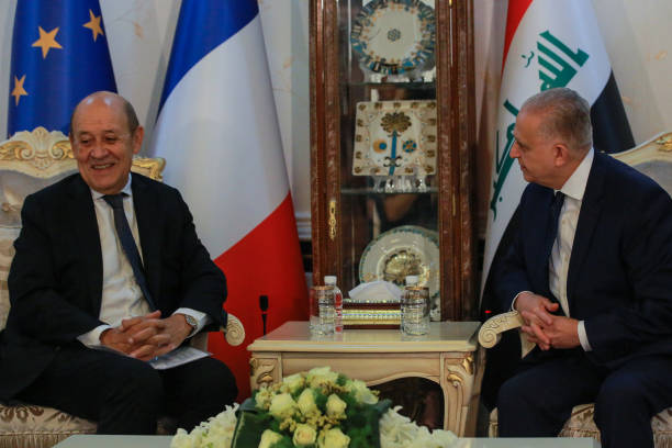 IRQ: French Foreign Minister Jean-Yves Le Drian Visits Iraq