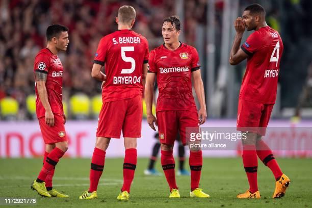 Soccer Champions League Juventus Turin Bayer Leverkusen Group stage Group D Matchday 2 Leverkusens Charles Aranguiz Sven Bender Julian Baumgartlinger...