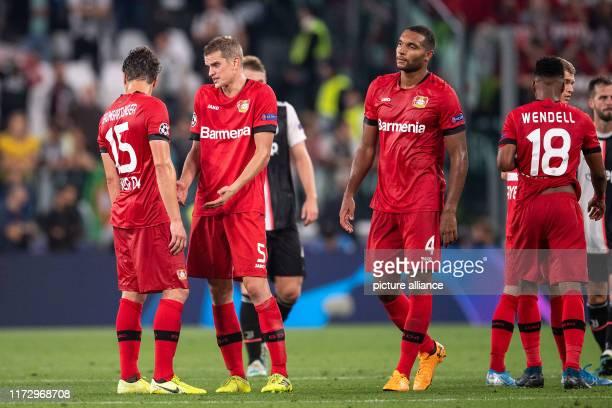 Soccer Champions League Juventus Turin Bayer Leverkusen Group stage Group D Matchday 2 Leverkusens Julian Baumgartlinger Sven Bender Jonathan Tah and...