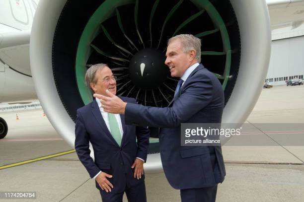 07 October 2019 North RhineWestphalia Duesseldorf Armin Laschet Prime Minister of North RhineWestphalia and Carsten Spohr Chairman of the Executive...