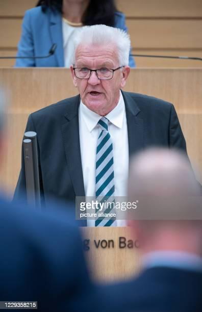 October 2020, Baden-Wuerttemberg, Stuttgart: Winfried Kretschmann , Prime Minister of Baden-Württemberg, speaks during the 130th session of the 16th...