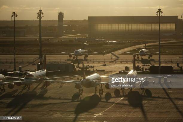 October 2020, Berlin, Schönefeld: Easyjet aircraft are parked in front of Terminal 1 before the opening of Berlin Brandenburg Willy Brandt Airport....