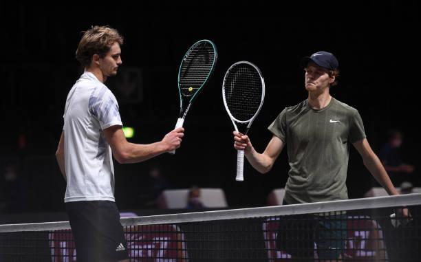 October 2020, North Rhine-Westphalia, Cologne: Tennis: ATP Tour - Cologne Championships , singles, men, semi-finals, Zverev - Sinner . Alexander...