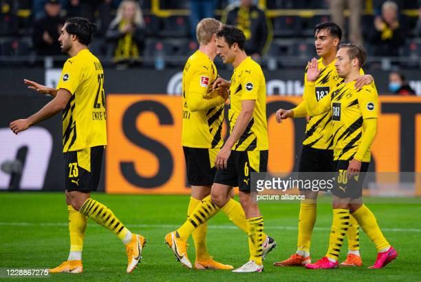 03 October 2020 North RhineWestphalia Dortmund Football Bundesliga Borussia Dortmund SC Freiburg 3rd matchday at Signal Iduna Park Dortmund's goal...