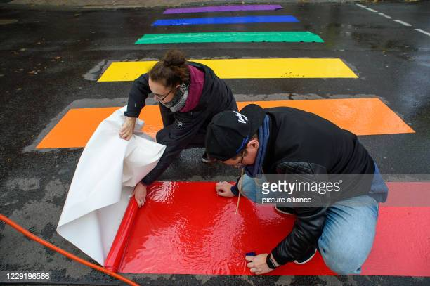 21 October 2020 SaxonyAnhalt Magdeburg Anika and Andreas stick a zebra crossing in rainbow colours on the asphalt of the road The rainbow zebrastripe...