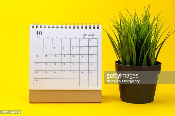 october 2021 calendar on yellow background - 2021 stock pictures, royalty-free photos & images