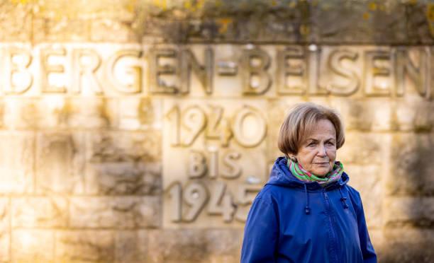 DEU: Holocaust Survivors Visit Bergen-Belsen Memorial Site