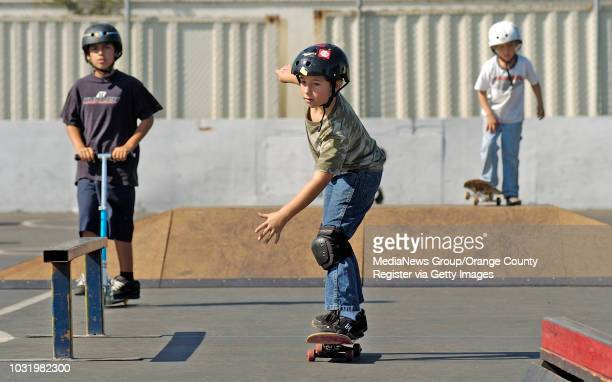 October 21 2006 Jacob Mandel center competes in the 10andunder category in the FBCOL SK8 Competition at First Baptist Church in Lakewood Calif in Oct...