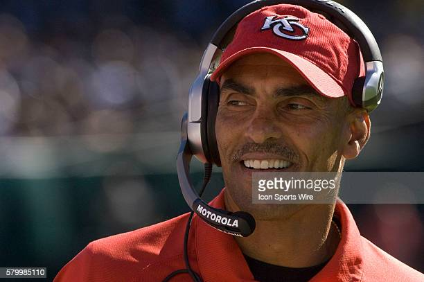 KC coach Herm Edwards on Sunday October 21 2007 at McAfee Coliseum in Oakland California The Chiefs defeated the Raiders 1210