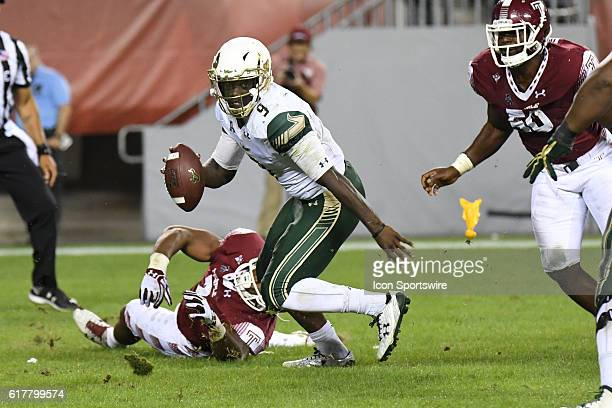 South Florida Bulls quarterback Quinton Flowers scrambles during a NCAA Football game between the University of South Florida Bulls and the Temple...