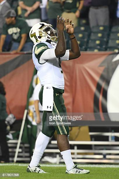 South Florida Bulls quarterback Quinton Flowers gives thanks during a NCAA Football game between the University of South Florida Bulls and the Temple...