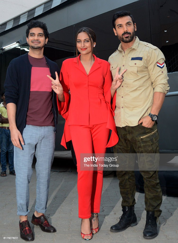 John Abraham and Sonakshi Sinha during the launch of promotional video titled Rang Laal for film Force 2 in Mumbai