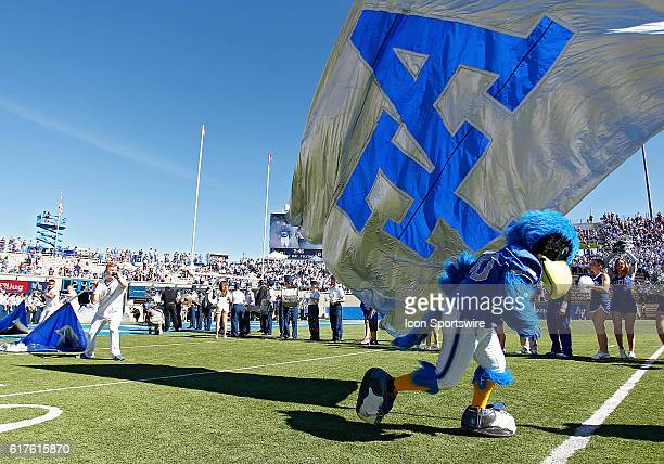 Air Force cheerleaders run on to the field prior to the a Mountain West Conference matchup between the University of Hawaii Rainbow Warriors and the...