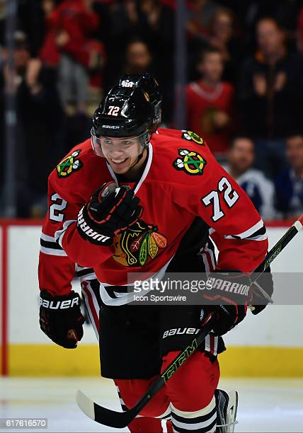 Chicago Blackhawks Left Wing Artemi Panarin celebrates after Chicago Blackhawks Center Artem Anisimov scores a goal during the Toronto Maple Leafs...