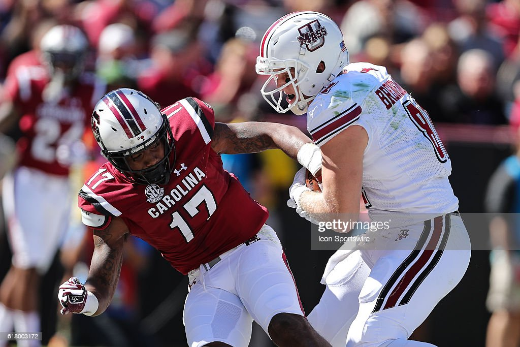 Massachusetts Minutemen tight end Adam Breneman scores as ...