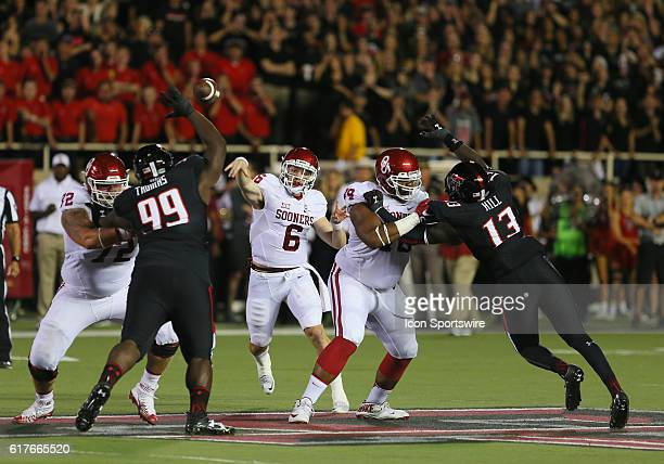 Oklahoma University quarterback Baker Mayfield throws a pass during the Texas Tech University Red Raider's 6659 loss to the Oklahoma University...