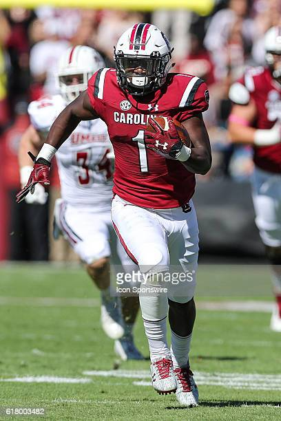 South Carolina Gamecocks wide receiver Deebo Samuel sprints towards the end zone against the Massachusetts Minutemen at WilliamsBrice Stadium in...