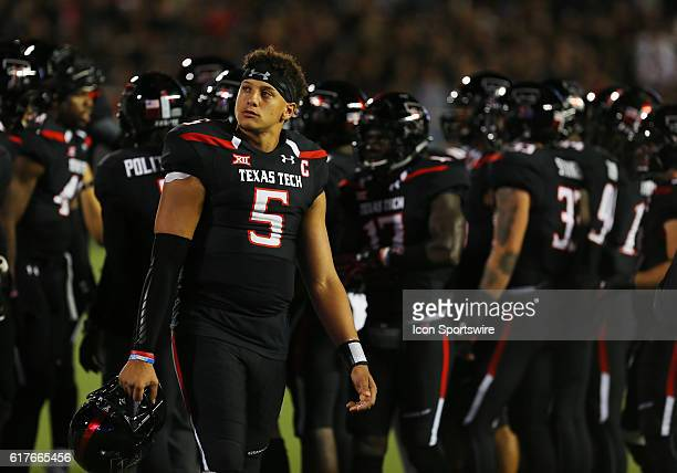 Texas Tech University quarterback Patrick Mahomes II patches a replay from the sidelines during the Texas Tech University Red Raider's 6659 loss to...