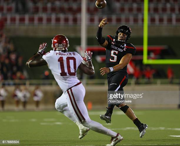 Texas Tech University quarterback Patrick Mahomes II throws on the run during the Texas Tech University Red Raider's 6659 loss to the Oklahoma...