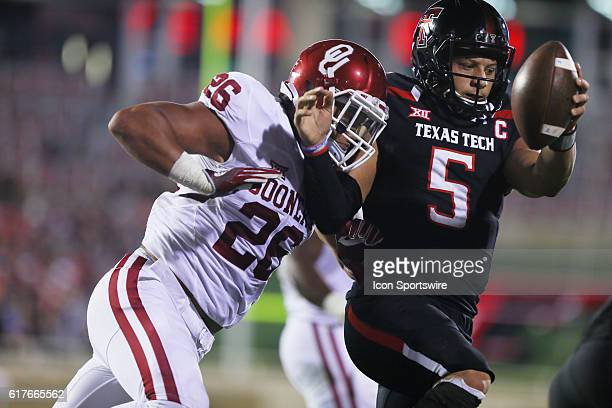 Texas Tech University quarterback Patrick Mahomes II carries the ball into the endzone for a touchdown during the Texas Tech University Red Raider's...