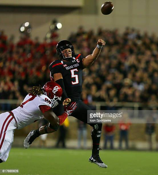 Texas Tech University quarterback Patrick Mahomes II throws under pressure during the Texas Tech University Red Raider's 6659 loss to the Oklahoma...