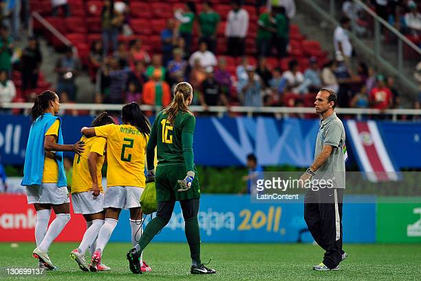 Brazil's players complain after the game between Brazil and Canada in the 2011 Pan American Games at the stadium Omnilife on October 22 2011 in...
