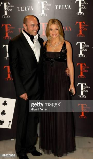 October 23 2006 Palace Hotel Madrid 'Telva' Awards In the image the model Carla Goyanes with the designer Manuel Mota