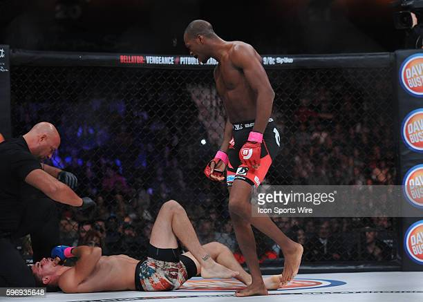 Michael Page gazes onto Charlie Ontiveros as they battle at the Mohegan Sun Arena in Uncasville Connecticut Michael Page defeats Charlie Ontiveros...
