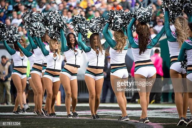 Eagles cheerleaders perform in the first half during the game between the Minnesota Vikings and the Philadelphia Eagles at Lincoln Financial Field in...