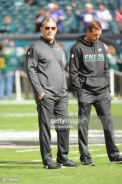Eagles Defensive Coordinator Jim Schwartz and Special teams Coach Dave Fipp during a National Football League game between the Minnesota Vikings and...